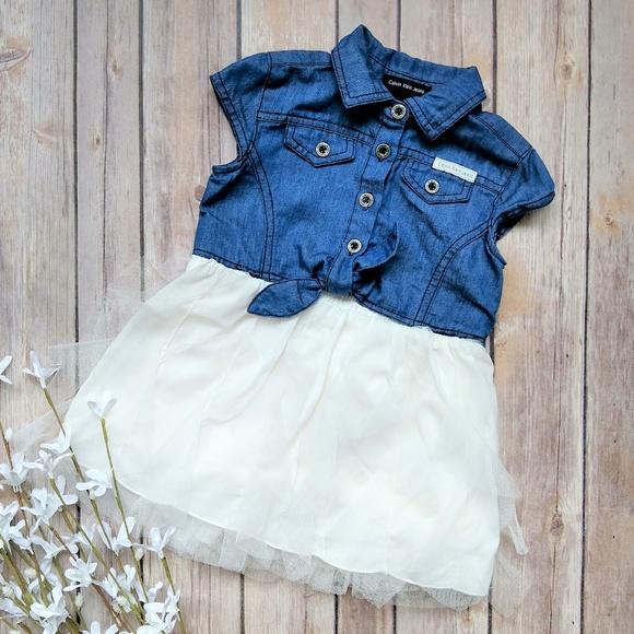 103bdf6166 Calvin Klein Jeans Dresses | Calvin Klein Baby Girls Denim Dress W ...